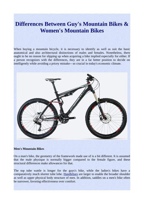 Differences Between Guy's Mountain Bikes & Women's Mountain Bike