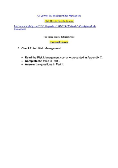 CJS 250 Week 3 Checkpoint Risk Managment
