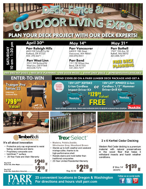 Parr Lumber May 2016 Sale
