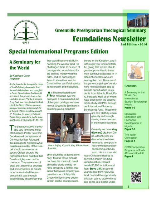 GPTS Foundations Newsletter, 3rd Edition 2014