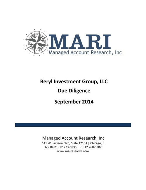 MARI Beryl Due Diligence eBook September '14