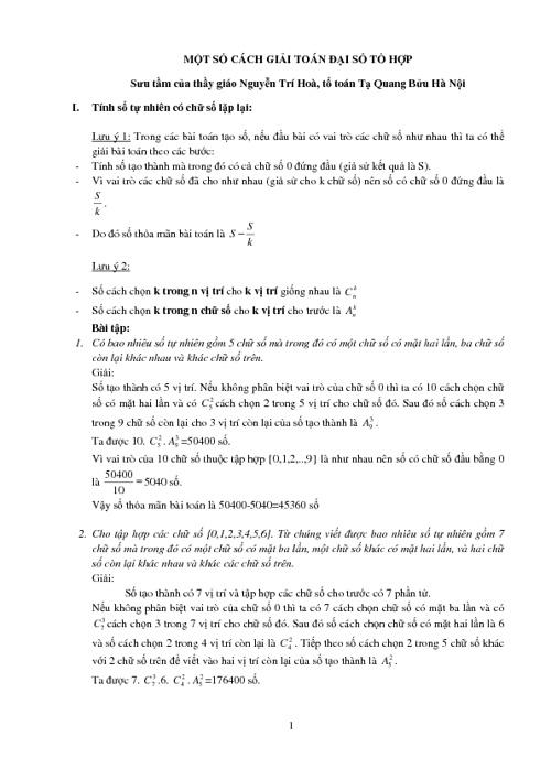 Cách giải toán tổ hợp