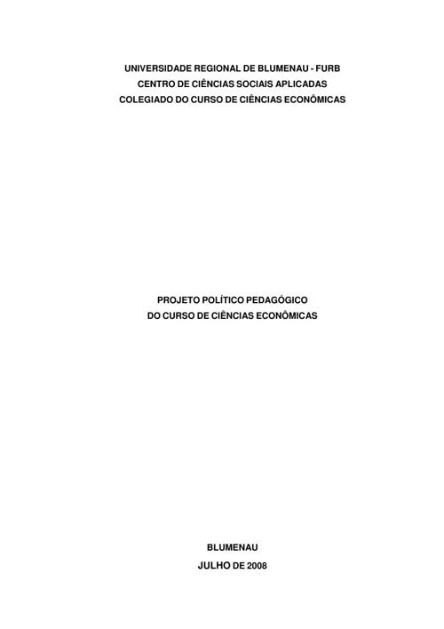 PPC DO CURSO DE CIÊNCIAS ECONÔMICAS