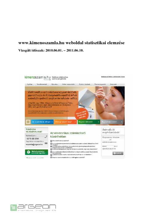www.kimenoszamla.hu Analytics elemzés 2011.06.