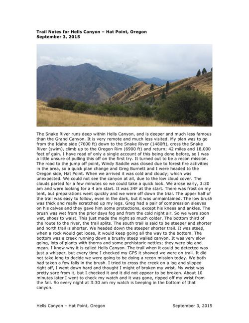 Trail Notes for Hells Canyon – Hat Point