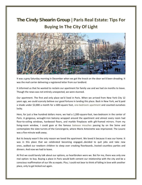 The Cindy Shearin Group | Paris Real Estate: Tips For Buying In