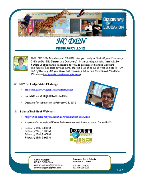 NC DEN February 2012 Newsletter