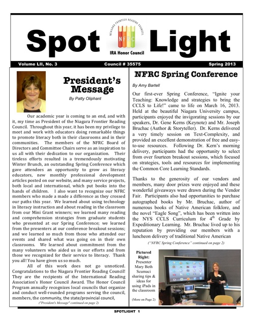 Niagara Frontier Reading Council - SPOTLIGHT Spring 2013