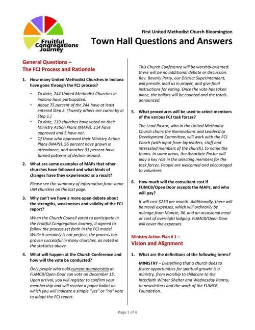 FCJ Town Hall Q&A