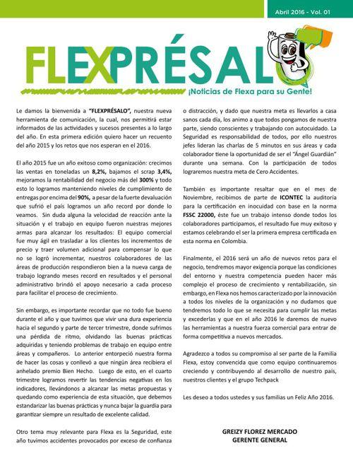 Boletín Flexprésalo - Abril Edición 01