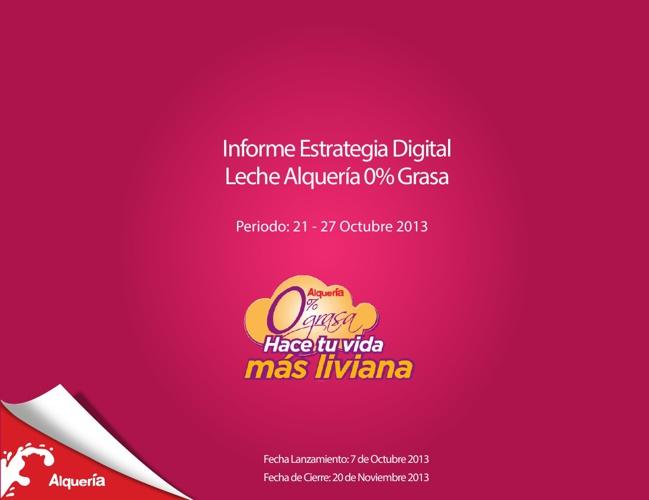Reporte Estrategia Digital Leche Alquería 0% Grasa 21 - 27 Oct