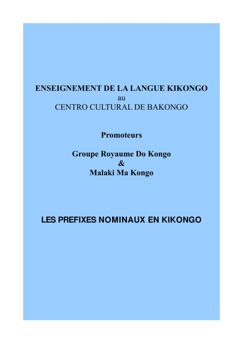 COURS DE LANGUE KIKONGO DU 19 JAN. 2013
