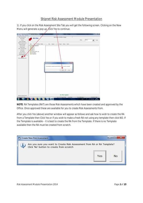 Shipnet Risk Assessment Module Presentation 1
