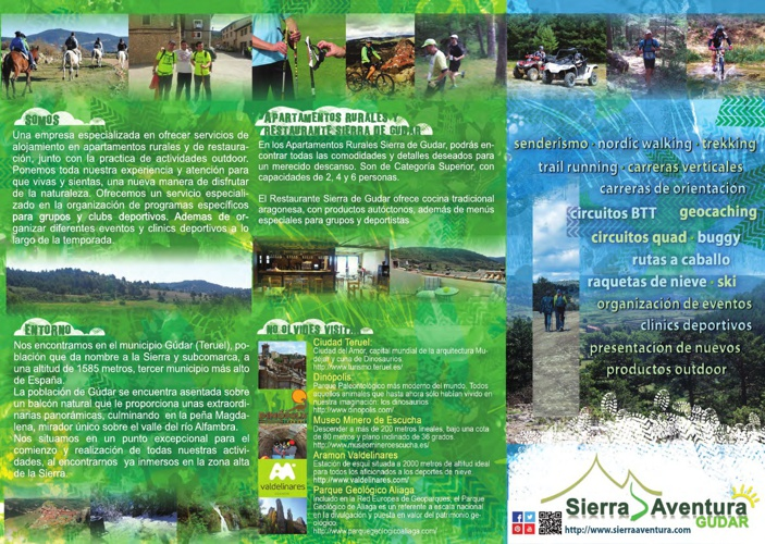 Tríptico y tarjeta Gúdar Sierra Aventura
