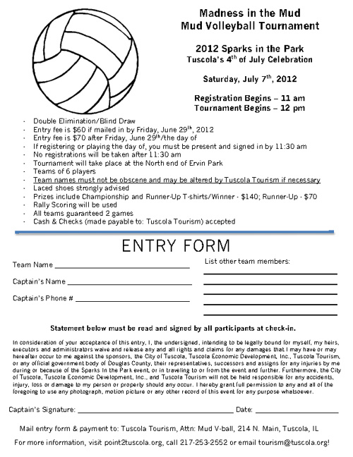 2012 Mud Volleyball Registration Form