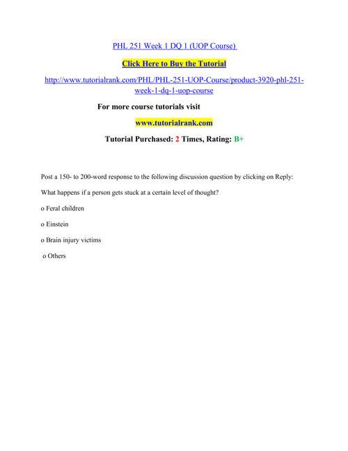 PHL 251 Course Extrordinary Success/ tutorialrank.com