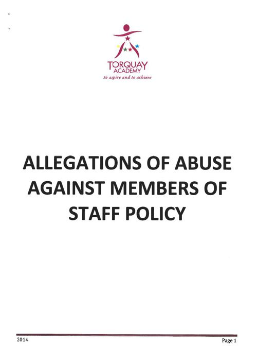 Allegations of Abuse against Staff Sept 2014