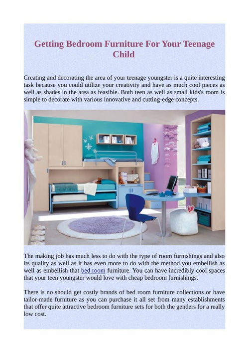 Getting Bedroom Furniture For Your Teenage Child