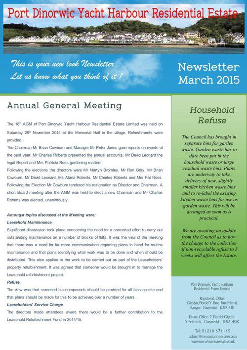 Menai Marina Estate Newsletter March 2015