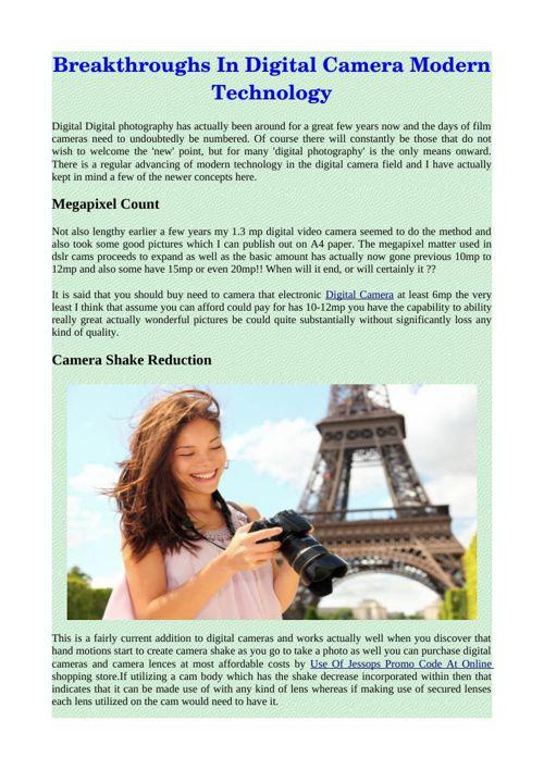 Breakthroughs In Digital Camera Modern Technology