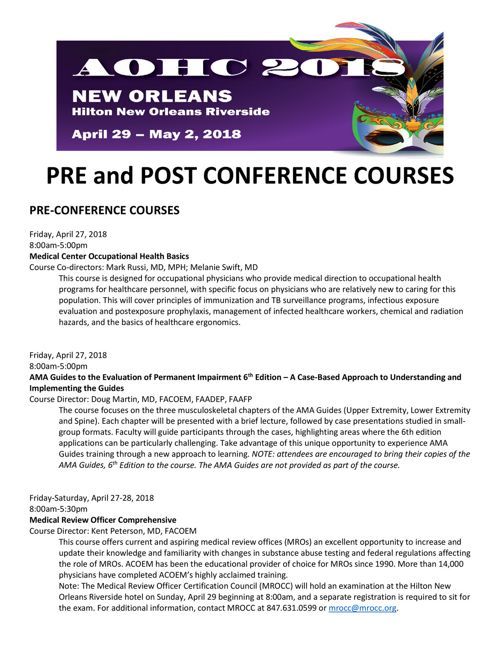 2018 AOHC Pre and Post-Conference Course Descriptions