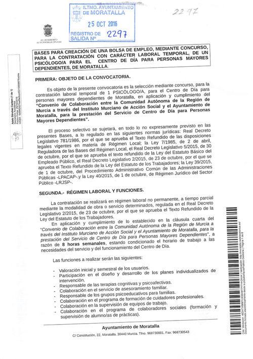 BASES PSICÓLOGO/A AYUNTAMIENTO DE MORATALLA