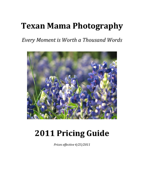 Texan Mama Photography Price Guide
