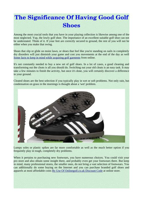 The Significance Of Having Good Golf Shoes