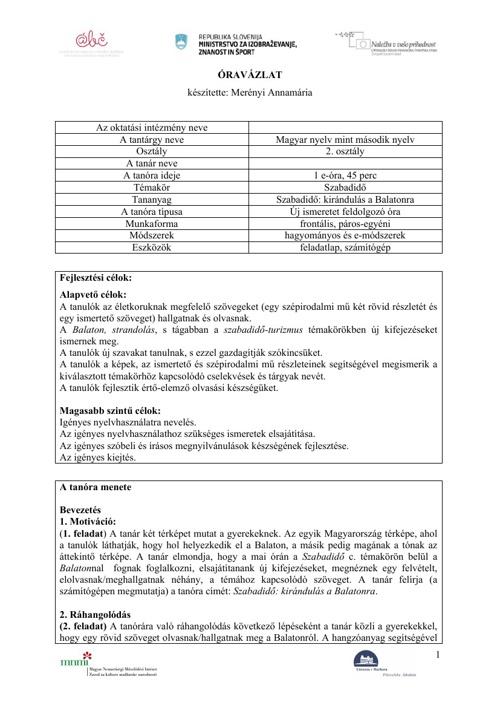Merényi Annamária - Szabadidő: kirándulás a Balatonra