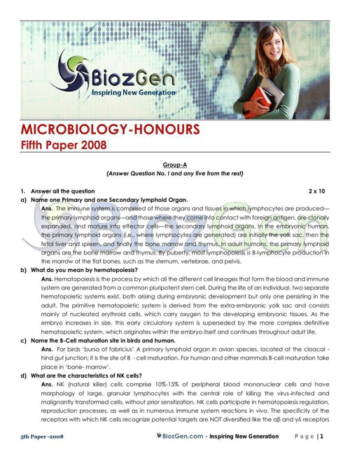 MICROBIOLOGY 2008 5th Paper