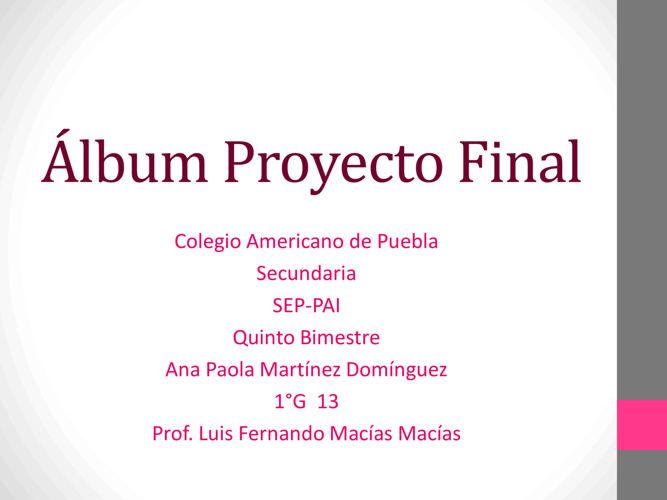 Album, 5° bimestre Español