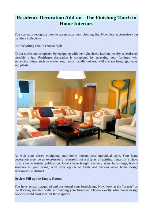 Residence Decoration Add-on - The Finishing Touch in Home Interi