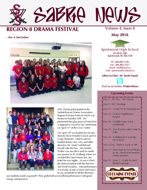 SHS Sabre News - May 2016 Vol 4 Issue 8