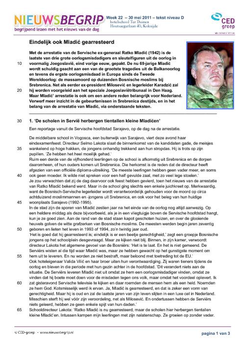 Mladic - tekst/opdrachten