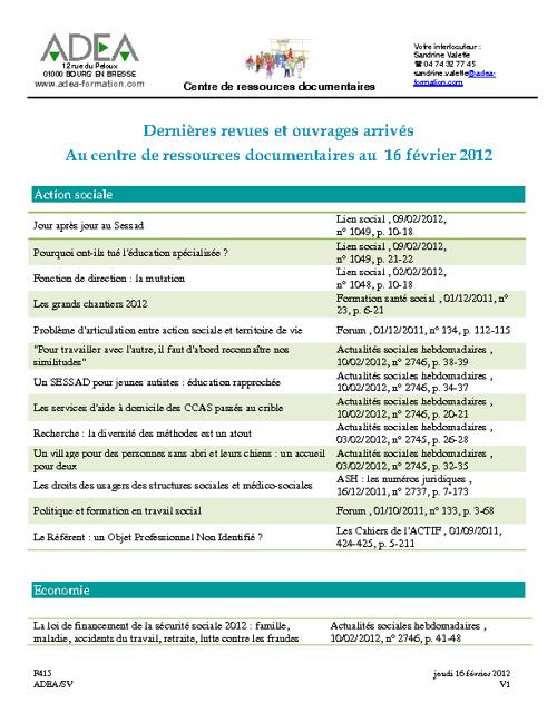 Dernières revues et ouvrages arrivés au 16 février 2012