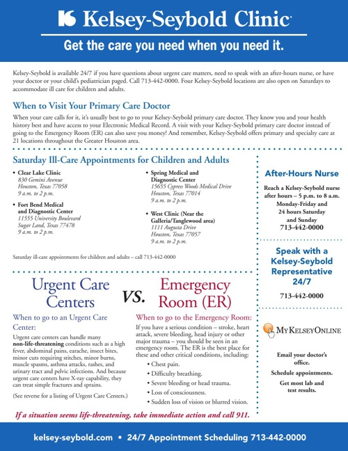 KelseyCare Urgent Care Flyer