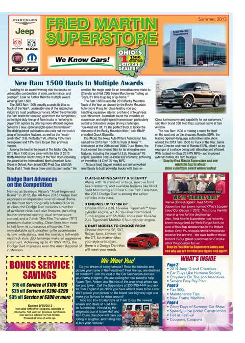Fred Martin Superstore Customer News Letter