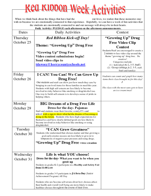 Red Ribbon Week at Midland Elementary is Oct. 25th-31st.