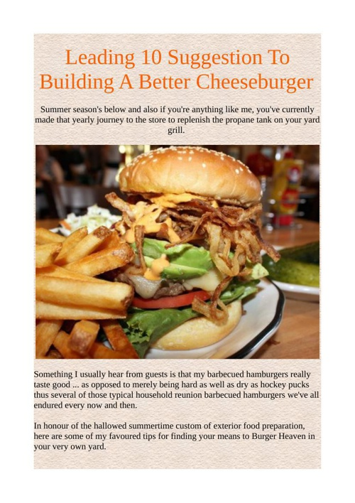 Leading 10 Suggestion To Building A Better Cheeseburger