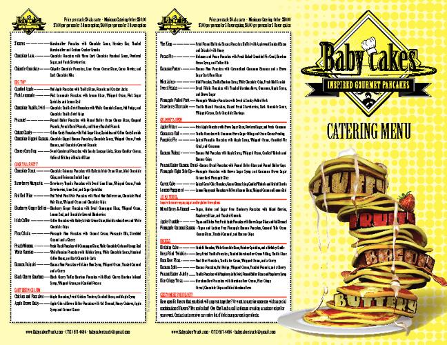 Babycakes Catering Menu