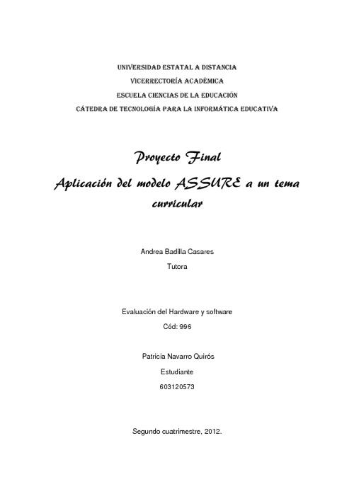 Proyecto aplicando el modelo ASSURE