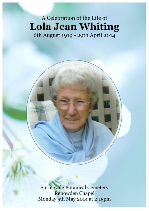 4 Order of Service for Lola Jean Whiting
