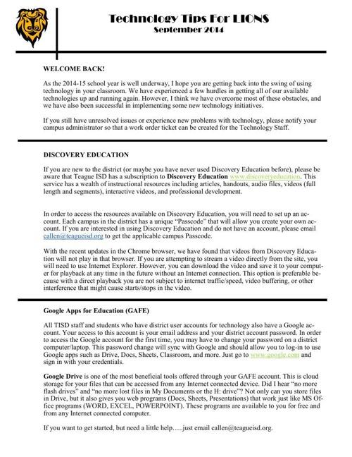 Tech Tips for Lions September 2014