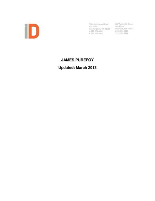 JPurefoy Press Kit  - March 2013