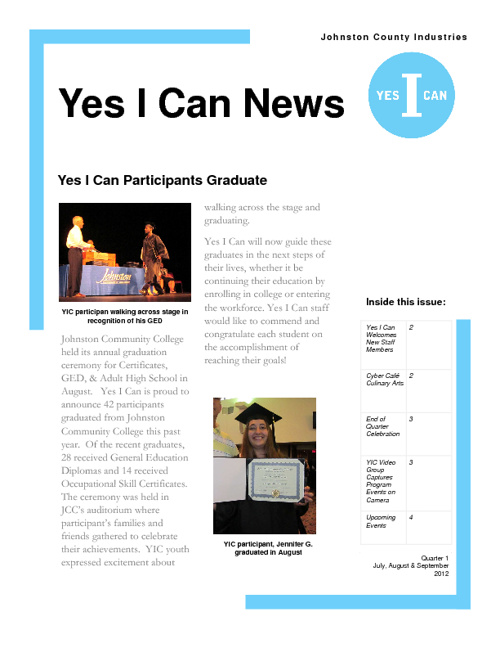 Yes I Can News July-September 2012