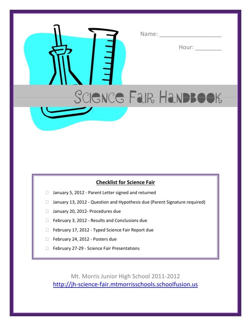 Science Fair Handbook, 2013