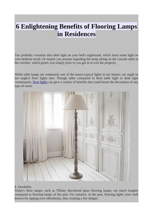 6 Enlightening Benefits of Flooring Lamps in Residences
