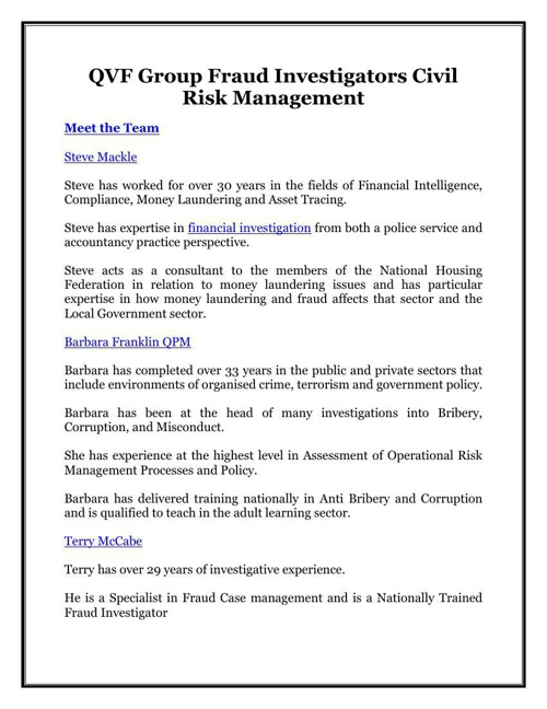 QVF Group Fraud Investigators Civil Risk Management