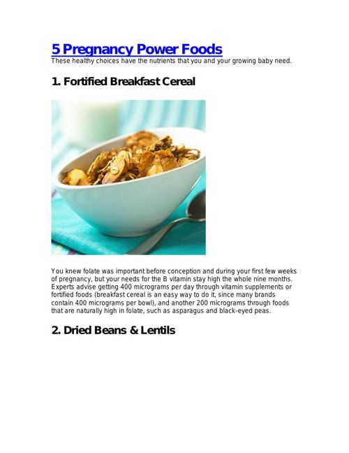 5 Pregnancy Power Foods