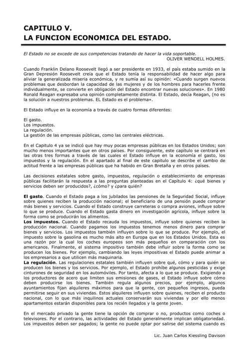 CAPITULO V. LA FUNCION ECONOMICA DEL ESTADO